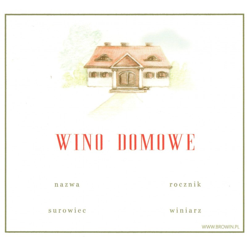 Etykieta Wino Domowe 20 Szt świat Drożdży Sc